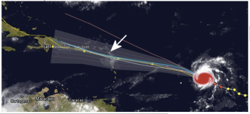 Hurricane Danny's trajectory has Caribbean airports preparing. Source: Red dots are hurricane strength. Yellow are tropical storm strength.