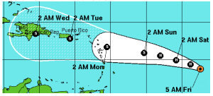 Hurricane Danny is set to hit the islands on Sunday. Source: NOAA