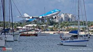 Most shots of aircraft landing at SXM are taken over Maho Bay. This is KLM 747 taking off from SXM. Courtesy of Alain Duzant