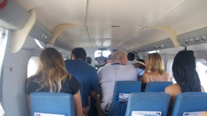 Our group was about a dozen aviation and travel reporters each wanting the best view for the approach at St. Barth and doing heaven knows what to the center of gravity. Courtesy Alain Duzant.