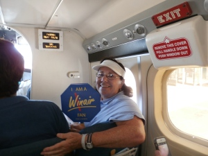 So, I guess you could say I'm a Winair fan, holding a Winair fan. The Twin Otter is unpressurized and un-airconditioned so it was definitely appreciated.